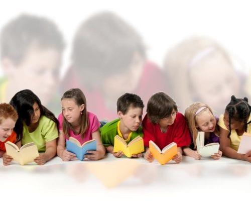 image of diverse kids reading together