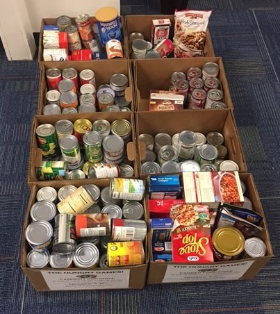 Collection of canned goods in boxes