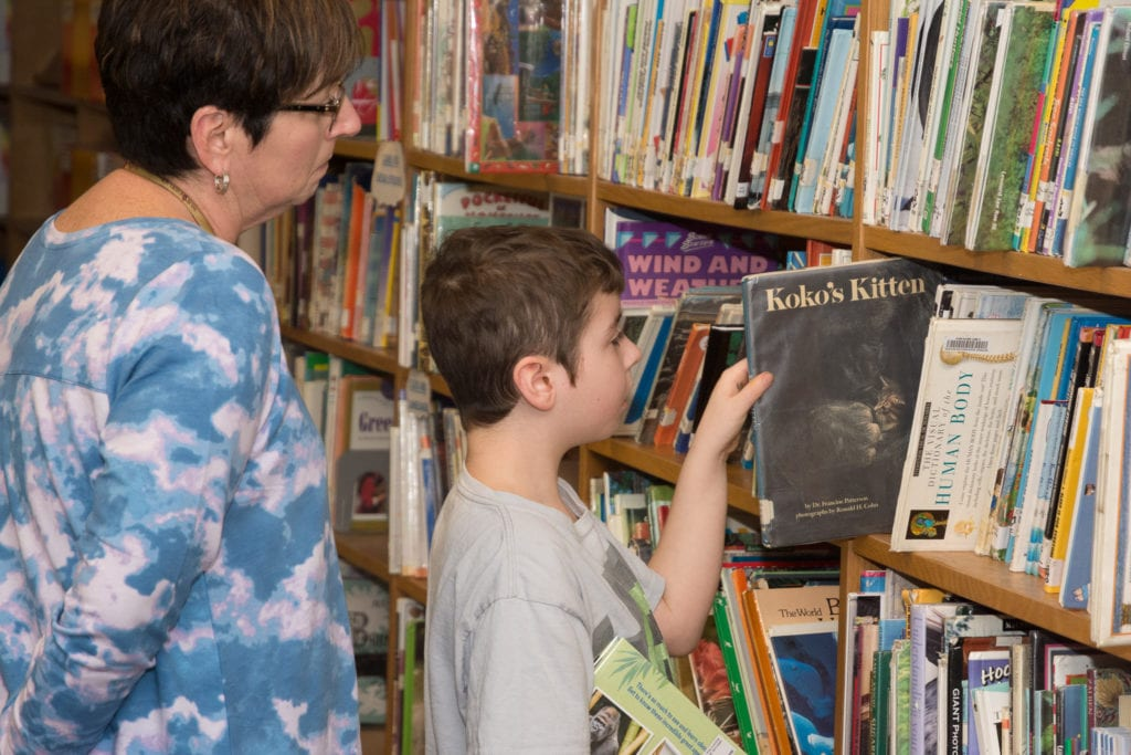 Photo of young boy taking a library book off of a shelf.
