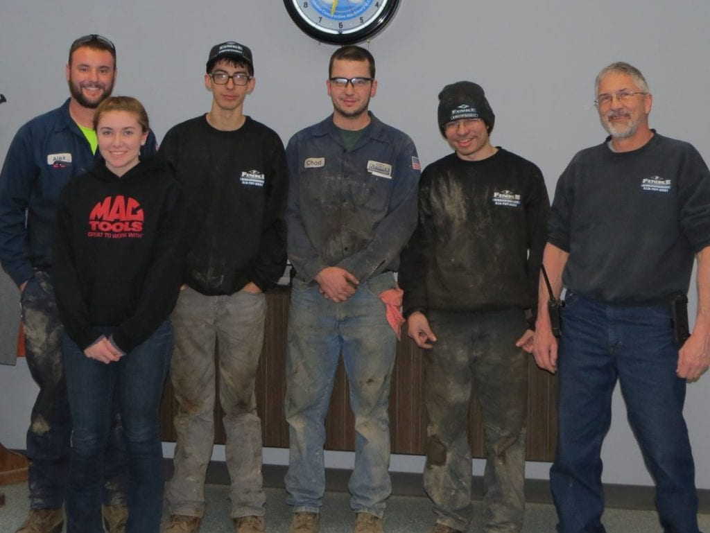 photo of students with staff at Finke equipment