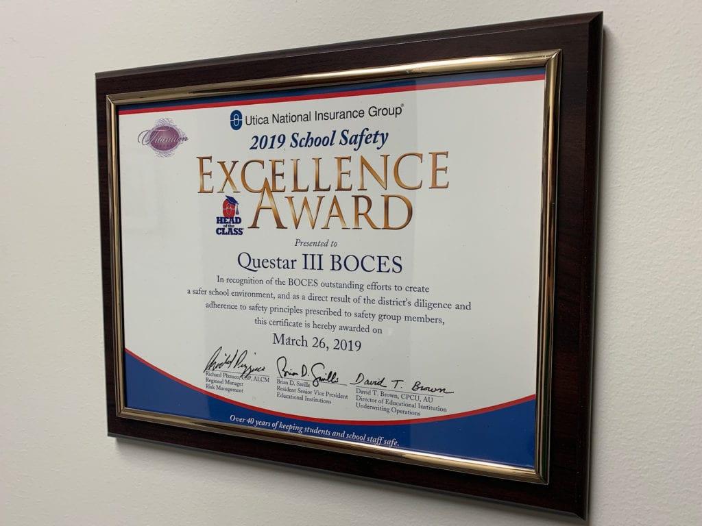 Questar Iii Earns 11th Consecutive School Safety Award
