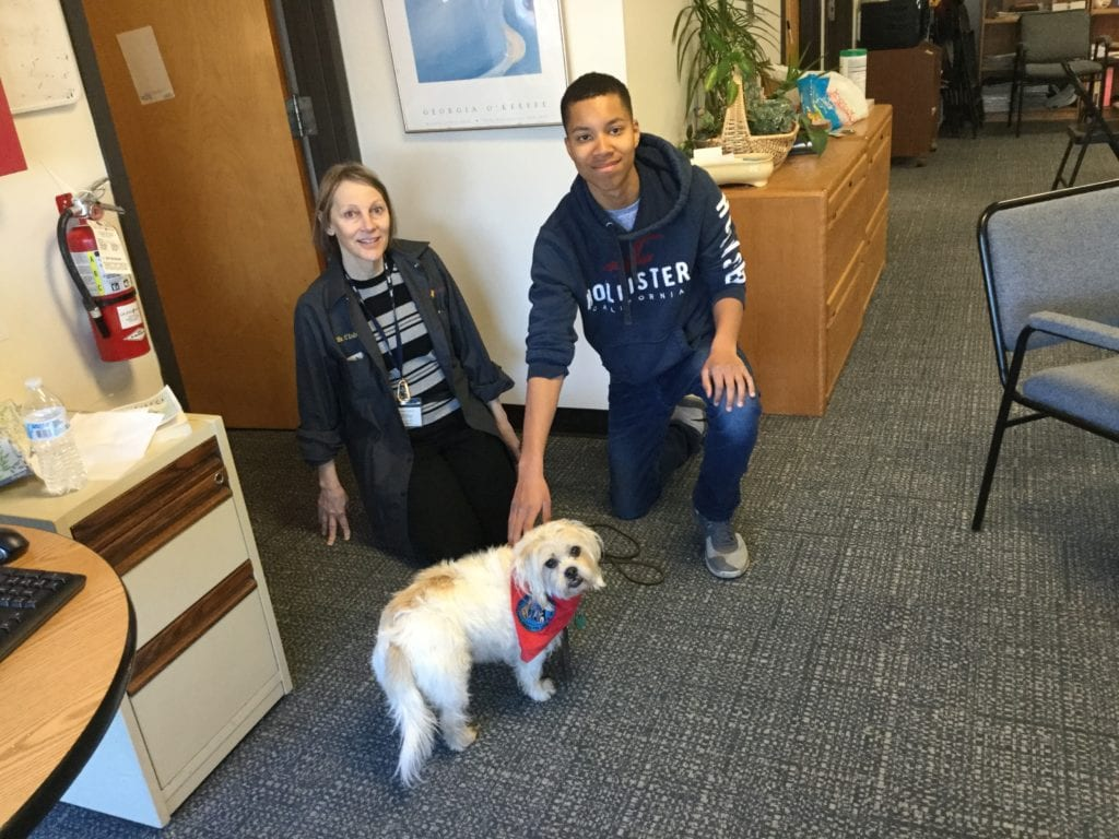 photo of a therapy dog with a staff member and a student