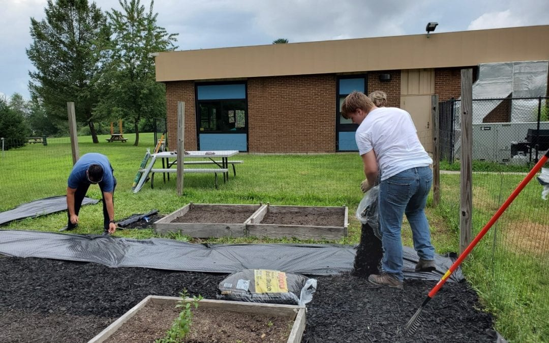 Sackett students clean up school garden